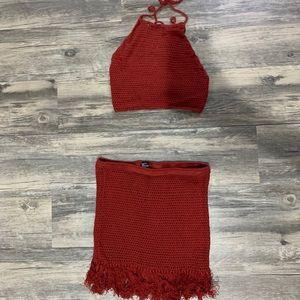 Crochet Halter Top & Skirt Set